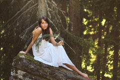 Beautiful young woman on forest rock Stock Images