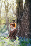 Beautiful young woman in the forest Stock Photos