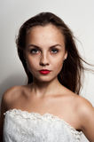 Beautiful young woman with freckles. Royalty Free Stock Photo