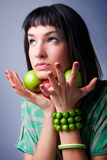 Beautiful young woman with fresh apple Royalty Free Stock Photo