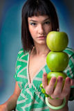 Beautiful young woman with fresh apple Royalty Free Stock Photos