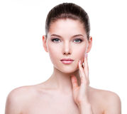 Beautiful young woman with fresh clean skin. Royalty Free Stock Images