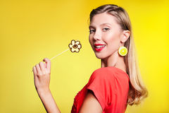 Beautiful young woman with fruit flower Royalty Free Stock Photo