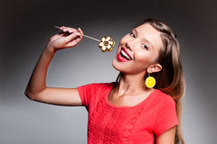 Beautiful young woman with fruit flower Royalty Free Stock Image