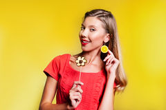 Beautiful young woman with fruit flower Royalty Free Stock Images