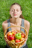 Beautiful young woman with fruits Royalty Free Stock Photos