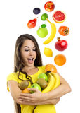 Beautiful young woman with fruits Royalty Free Stock Photography