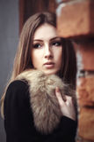 Beautiful young woman in fur style street portrait Royalty Free Stock Images