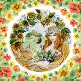 Beautiful young woman in a garland with bunch of flowers against countryside background. Concept of a girl as a summer. Seasonal watercolor illustration. Hand royalty free illustration