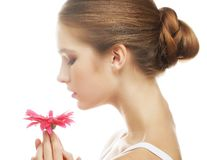Beautiful young woman with gerber flower Royalty Free Stock Images