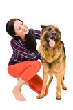 Beautiful young woman and a German Shepherd Royalty Free Stock Photos