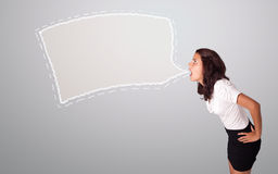 Beautiful woman gesturing with abstract speech bubble copy space Royalty Free Stock Photos