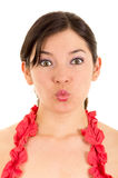 Beautiful young woman gesturing kiss Royalty Free Stock Image