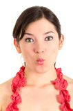 Beautiful young woman gesturing kiss Stock Photo