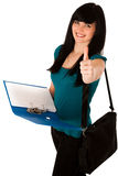 Beautiful young woman gesturing success showing thumb up Royalty Free Stock Photo