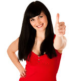 Beautiful young woman gesturing success showing thumb up Stock Image