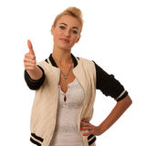 Beautiful young woman gesturing success with thumb up isolated o Royalty Free Stock Photos
