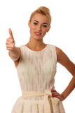Beautiful young woman gesturing success with thumb up isolated o Royalty Free Stock Photography