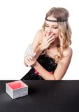 Beautiful young woman get gift Royalty Free Stock Photography