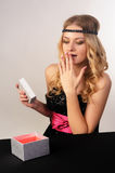 Beautiful young woman get gift Royalty Free Stock Photos