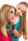 Beautiful young woman gets a hairdo Royalty Free Stock Photography