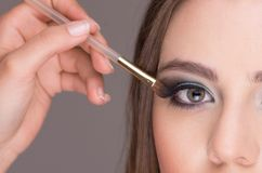 Beautiful young woman getting makeup done Stock Images