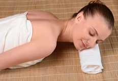 Beautiful young woman getting relaxing is spa Royalty Free Stock Photo