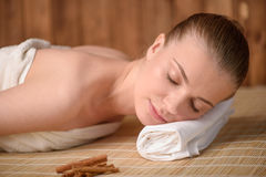 Beautiful young woman getting relaxing is spa Stock Image