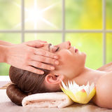 Beautiful young woman getting spa massage. Beautiful Young Woman Getting Massage Facial and Body in Spa Salon. Treatment Cosmetics Beauty Care Body Herbs royalty free stock images