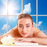 Beautiful young woman getting spa massage Stock Images