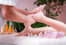 Beautiful young woman getting spa massage Royalty Free Stock Image