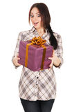Beautiful young woman with a gift box Royalty Free Stock Images