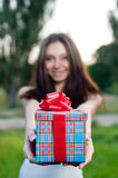 Beautiful young woman with gift box Stock Photos
