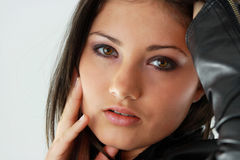 Beautiful Young Woman (girl). Beautiful young woman in black Royalty Free Stock Photo