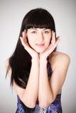 Beautiful young woman girl looking at camera Stock Images