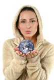 Beautiful young woman giving earth Royalty Free Stock Image