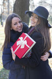 Beautiful young woman giving a gift to her friend Royalty Free Stock Image