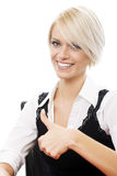 Blond woman thumbs up Stock Image
