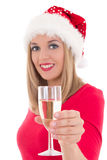Beautiful young woman with glass of champagne isolated on white. Royalty Free Stock Image