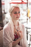 Beautiful Young Woman with Glass of White Wine Royalty Free Stock Photo