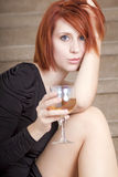 Beautiful young woman with glass of wine Royalty Free Stock Photo