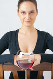 Beautiful young woman with a glass of wine Royalty Free Stock Photography