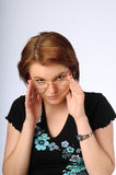 The beautiful young woman with glasses Stock Photography