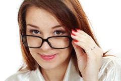 Beautiful young woman in glasses Stock Image
