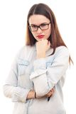 Beautiful young woman. In glasses, on white background Royalty Free Stock Photo