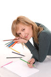 Beautiful young woman is going to draw. Royalty Free Stock Photos