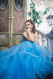 Beautiful young woman in gorgeous blue long dress like Cinderella with perfect make-up and hair style Stock Image