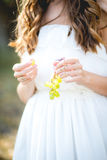 Beautiful young woman with grape bunches against Royalty Free Stock Photos