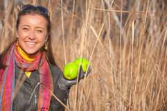 Beautiful young woman with green apples Royalty Free Stock Image