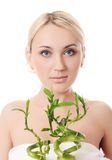 The beautiful young woman with a green bamboo Stock Image